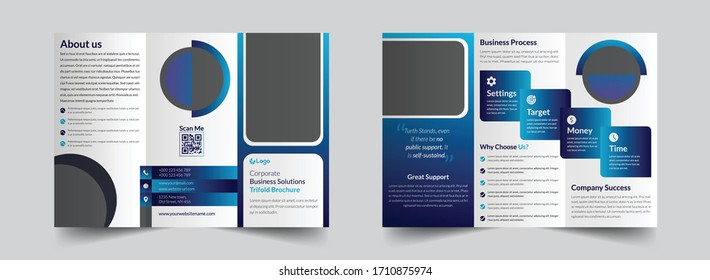 The creative vector editable layout of square format covers design templates for trifold brochure, flyer, magazine. Creative trendy style mockups, blue color trendy design backgrounds.