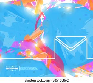 Creative vector envelope. Art illustration template background. For presentation, layout, brochure, logo, page, print, banner, poster, cover, booklet, business infographic, wallpaper, sign, flyer.