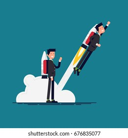 Creative vector flat character design on businessman using jet pack and lifts off the ground. Career boost concept illustration. Office worker flies off with rocket on his back