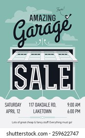 Creative vector garage or yard sale event announcement printable poster or banner template