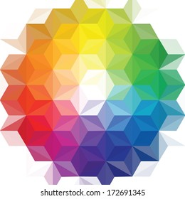 creative vector geometric patterns, background, triangle  color wheel
