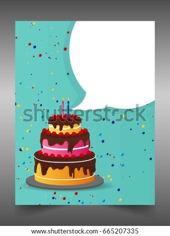 Creative Vector Of Happy Birthday Banner With Gift Cake Balloon Klaxon Cap