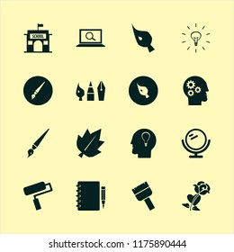 creative vector icons set. with bulb head, paint roller, mirror and find concept in set
