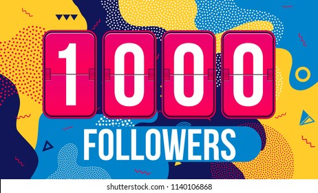 Creative vector illustration of 1000 followers subscribers, thank you card banner isolated on transparent background. Art design web user celebrates blogger network. Abstract concept graphic element