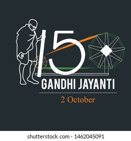 creative vector illustration for 2nd October Gandhi Jayanti on 150th birth anniversary with nice and beautiful design.