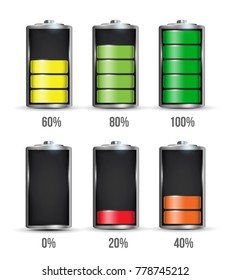 Creative vector illustration of 3d different charging status battery load isolated on transparent background. Discharged power sources. Art design. Abstract concept graphic element for displays, icons