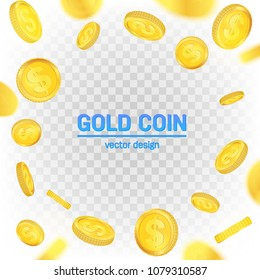 Creative vector illustration of 3d gold coins floating in different perspective. Isolated on transparent background. Dollar sign. Realistic money. Art design. Abstract concept graphic element.