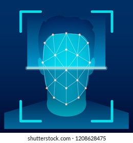 Creative vector illustration of biometric face verification scan, identification scanning system on background. Art design high technology detection template. Abstract concept graphic element