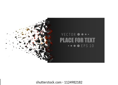 Creative vector illustration of blank banner with explosion, debris isolated on transparent background. Art design. Cracked shape shatters into pieces. Abstract concept graphic geometric element