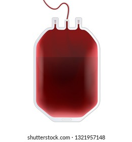 Creative vector illustration of Blood Bag with type, plastic container for plasma isolated on transparent background. Art design template. Abstract concept graphic medicine clinic element