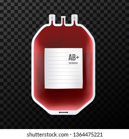 Creative vector illustration of Blood Bag with type, plastic container for plasma isolated on transparent background. Art design template. Abstract concept graphic medicine clinic element.