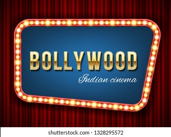 Creative vector illustration of bollywood cinema background. Art design indian movie, cinematography, theater banner or poster template. Abstract concept graphic film board element on red curtains