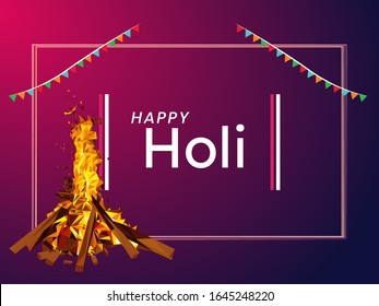 creative vector illustration. colored paint with bonfire night ( holika dahan). Indian festival of colors Happy Holi.