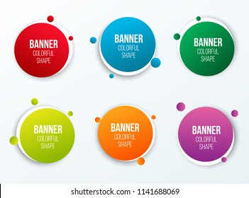 Creative vector illustration of colorful circle text boxes set isolated on background. Overlay colors shape round banners art design. Fun label form. Paper style spot. Abstract concept graphic