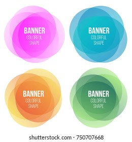 Creative vector illustration of colorful round banners. Overlay colors shape art design. Fun label form. Paper style spots. Abstract concept graphic tag element for advertisements or printing