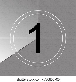 Creative vector illustration of countdown frame. Art design. Old film movie timer count. Vintage retro cinema. Abstract concept graphic element. Universal leader. Number one - 1.