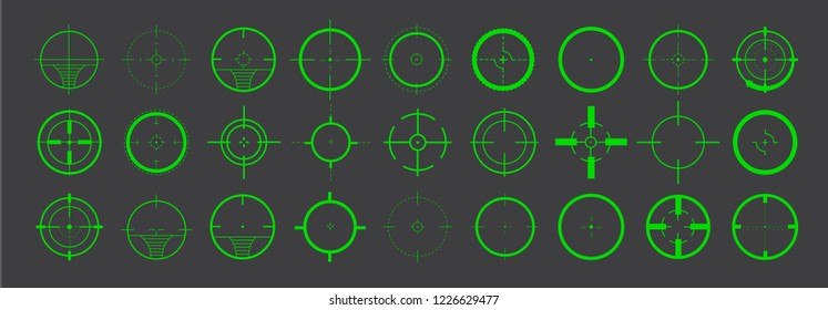 Creative vector illustration of crosshairs icon set. Target icons set sniper scope symbol isolated on a grey background, the crosshair and the target vector illustration.