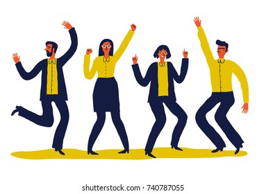 Creative vector illustration of dancing people. Happy teenagers or adults  move to the music. Unusual cartoon  illustration on white background.