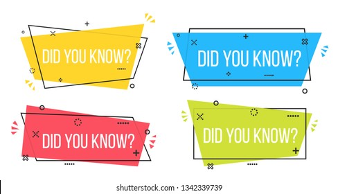 Creative vector illustration of did you know question mark label badge isolated on transparent background. Art design knowledge post for interesting post or article. Abstract concept graphic element