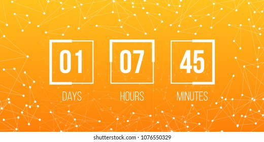 Creative vector illustration of digital clock timer isolated on background. Countdown art design. For coming soon or under construction. Abstract concept graphic element. Web site flat template.