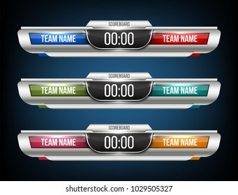 Creative vector illustration digital scoreboard broadcast graphic isolated on transparent background. Art design lower thirds template. Abstract concept soccer, football, basketball, futsal element