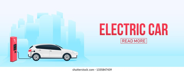 Creative vector illustration of electric charging future car, charger station isolated on transparent background. Art design electromobility e-motion template. Abstract concept graphic element