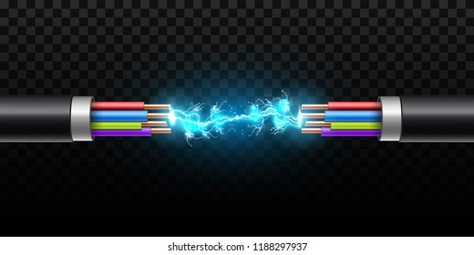 Creative vector illustration of electric glowing lightning between colored break cable, copper wires with circuit sparks isolated on transparent background. Art design. Abstract concept element