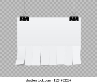 Creative vector illustration of empty blank sheet paper advertising with tear-off cut slips isolated on transparent background. Street art design copy space template. Abstract concept graphic element
