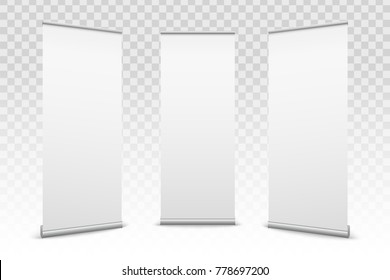 Creative vector illustration of empty roll up banners with paper canvas texture isolated on transparent background. Art design blank template mockup. Concept graphic promotional presentation element.
