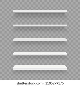 Creative vector illustration of empty shelves set on wall isolated on background. Art design template mockup. Abstract concept graphic element for shop