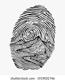 Creative vector illustration of a finger print, thumb stamp, with sky and mountains road drawn inside it with strokes. Conceptual scenery artwork design.