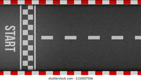 Creative vector illustration of finish line racing background top view. Art design. Start or finish on kart race. Grunge textured on the asphalt road. Abstract concept graphic element