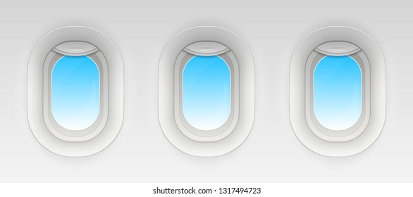 Creative vector illustration of flight airplane window, blank plane portholes isolated on transparent background. Art design aircraft open and closed illuminator. Abstract concept graphic element