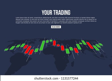 Creative vector illustration of forex trading diagram signals isolated on background. Buy, sell indicators with japanese candles pattern, exchange financial market graph. Candlestick chart element