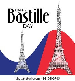 Creative vector Illustration For The French National Day.Happy Bastille Day.