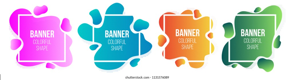 Creative vector illustration of geometric liquid style simple form frames banner isolated on transparent background. Art design blank mockup template border. Abstract concept graphic trendy element.