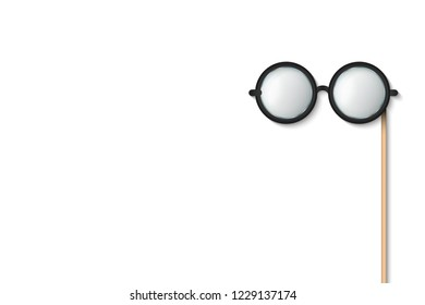 Creative vector illustration of glasses stick, eyeglasses photobooth props isolated on transparent background. Art design funny masquerade template. Abstract concept graphic accessory element