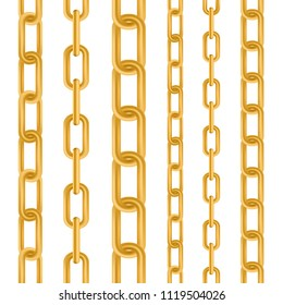 Creative vector illustration of gold metallic dangling chain links set isolated on background. Art design seamless metal. Abstract concept graphic element
