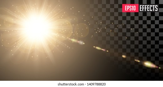 Creative Vector Illustration of Golden Shining Sun with Transparent Rays and Lenses Refraction. Gold Detonation Effect. Concept Graphic Element.