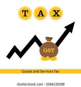 Creative vector illustration for Goods and Service Tax acronym GST. Can be used for GST icons, badge, button, concept, banner, poster, brochure, web, and backgrounds with finance, tax and accounting.