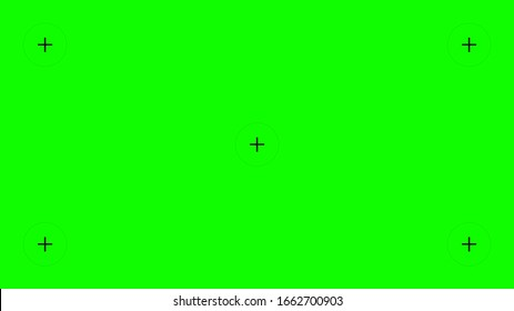 Creative vector illustration of green screen background, VFX motion tracking markers. Art design green screen backdrop template. Abstract concept video footage replacement tracking markers element