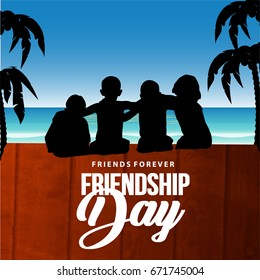 Creative vector illustration of Greeting, Poster, Flyer or Card for Happy Friendship Day with Cute Friends, People or Kids wallpaper design on decorative background.