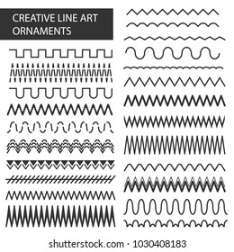 Creative vector illustration of hand drawn line frames set isolated on transparent background. Seamless doodle geometric pattern. Art design sketch ornaments. Abstract concept graphic element