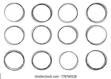 Creative vector illustration of hand drawning circle line sketch set isolated on transparent background. Art design round circular scribble doodle. Abstract graphic element for message note mark.