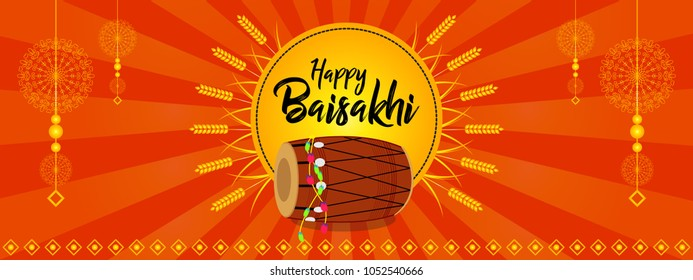 Creative vector illustration for Happy Baisakhi, a festival celebrated in Punjab province of India by sikh community. Can be used for posters, banners, greetings, backgrounds, and festive decorations.