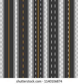Creative vector illustration of horizontal straight seamless roads isolated on transparent background. Art design modern asphalt repetitive highways. Road asphalt highway street seamless element.