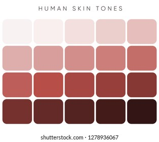 Creative vector illustration of human skin tone color palette set from light to the dark. Abstract concept person face, body complexion graphic element for cosmetics