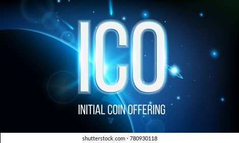 Creative vector illustration of ICO initial coin offering banner background. Blockchain business event cryptocurrency bitcoin sale. Concept IT startup crowdfunding. Virtual digital electronic money.