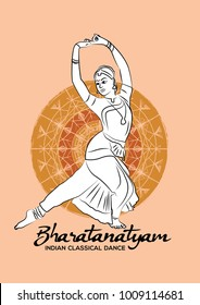 Creative vector illustration of Indian dance. Indian classical dance bharatanatyam.