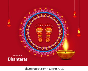 Creative vector illustration of Indian festival Dhanteras and Diwali with text and golden pot full of coins